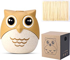 Cute Toothpick Holder Dispenser with 100 Natural Bamboo Toothpicks, Awsaccy Portable Plastic Funny Decorative Toothpick Container Storage Box for Kitchen Restaurant Party Car, Unique Gift Idea (Owl)