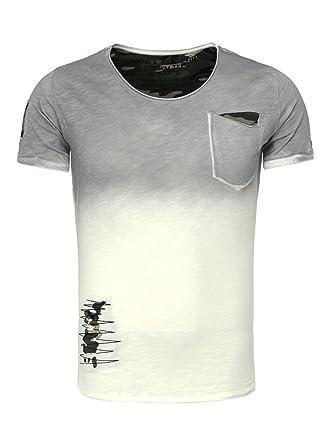 Key Largo Herren T-Shirt SHARE Used Look Farbverlauf Camouflage Details mit  Brusttasche anthrazit XL