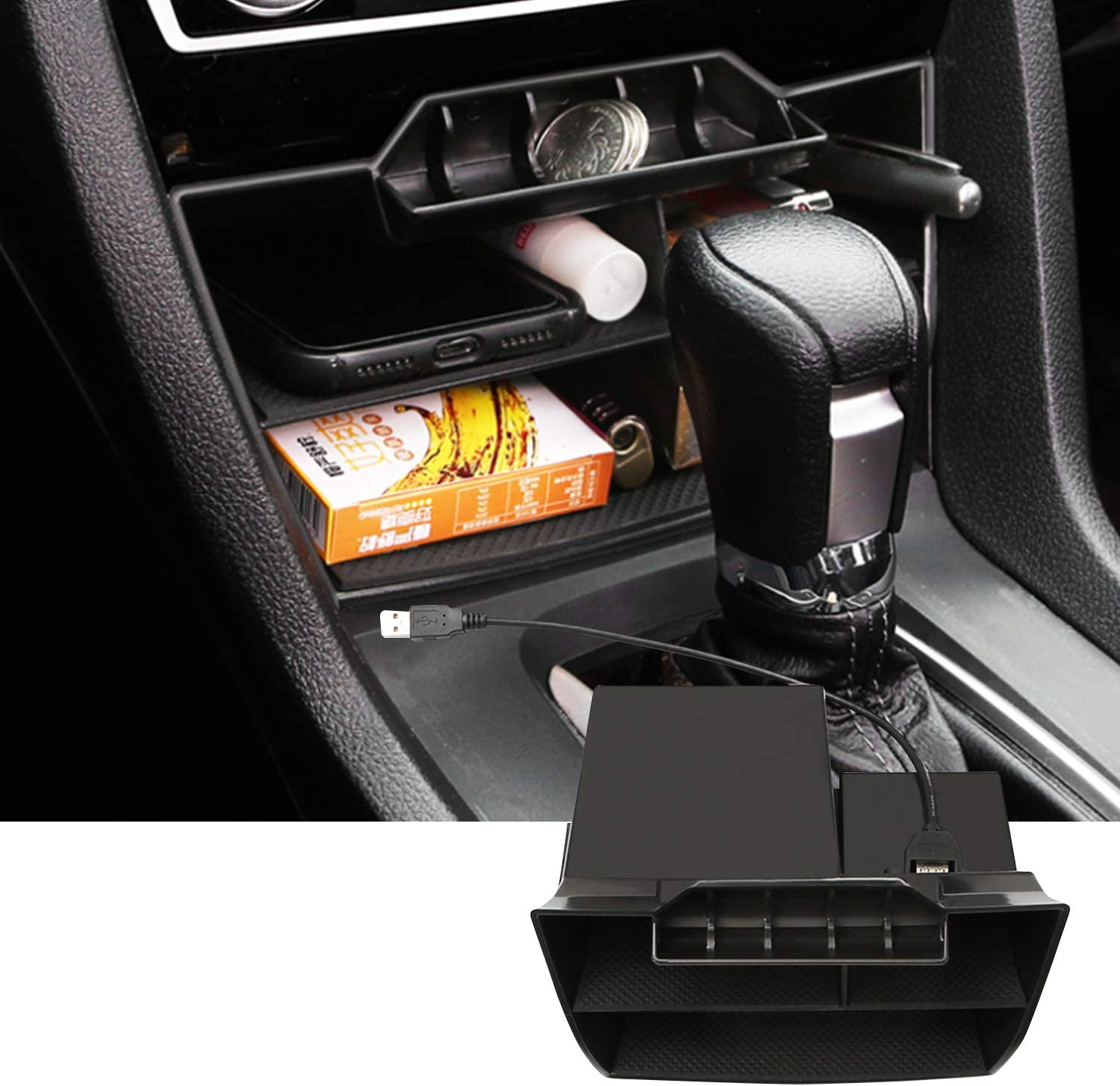 SKTU Center Console Organizer Compatible with 2020 Land Rover Defender 90 110 Accessories Insert ABS Black Materials Tray Armrest Secondary Storage Box