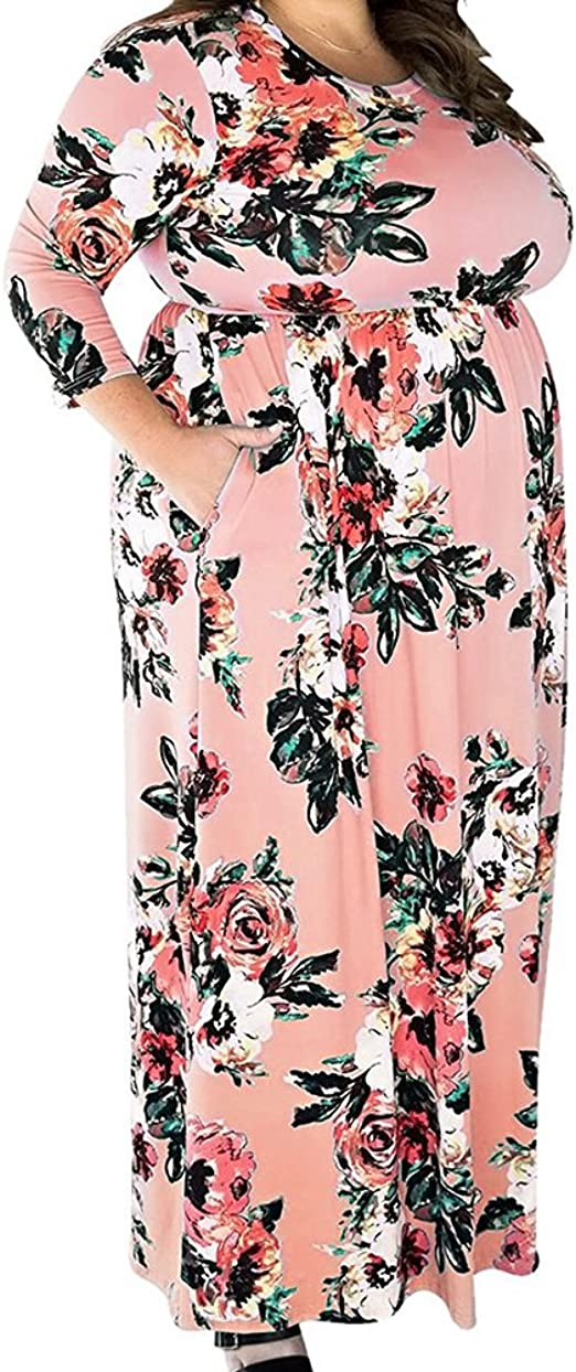 TALLA (EU50-52)2XL. Lover-Beauty Vestido Largo Mujer Talla Grande Moda Bolsillo Top Falda para Fiesta Verano Manga Corta Floral Estampada Suleto Moda de Ropa Elegante Maxi Rosa (EU50-52)2XL