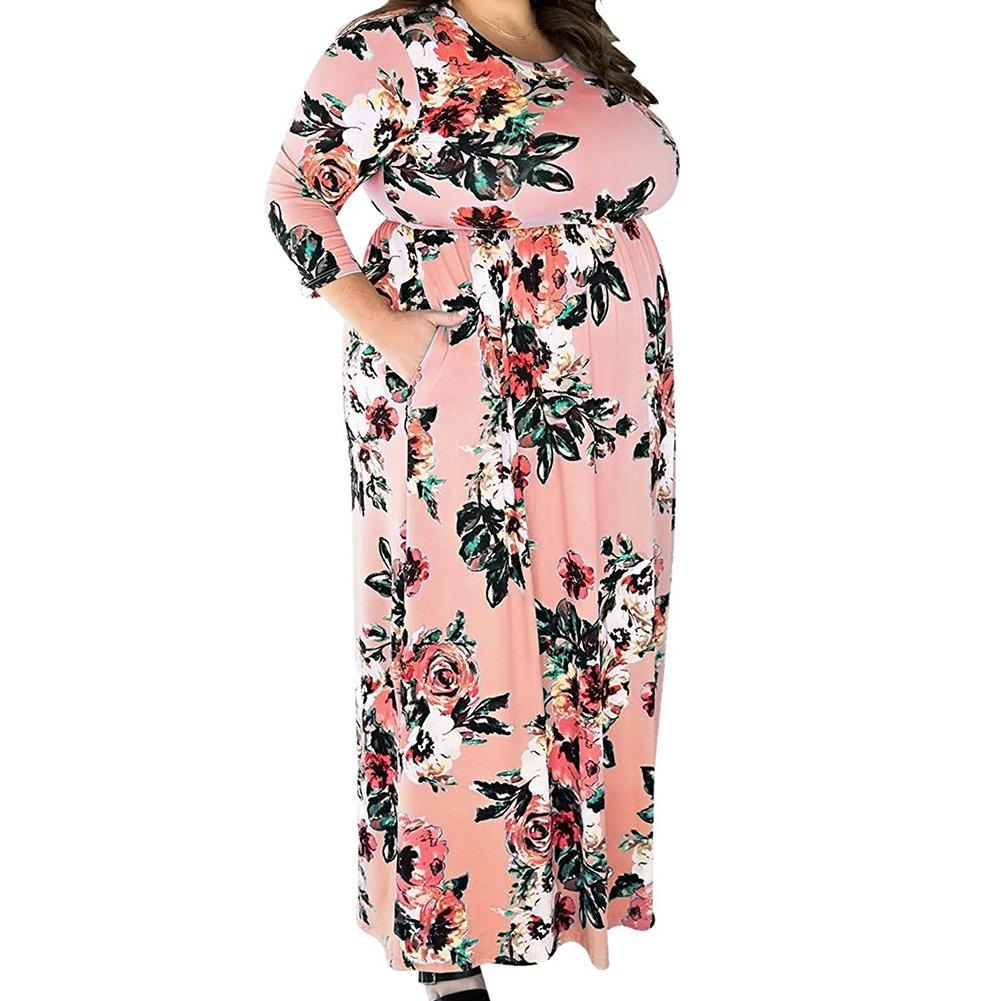 TALLA (EU62-64)5XL. Lover-Beauty Vestido Largo Mujer Talla Grande Moda Bolsillo Top Falda para Fiesta Verano Manga Larga Floral Estampada Suleto Moda de Ropa Elegante Maxi Rosa (EU62-64)5XL