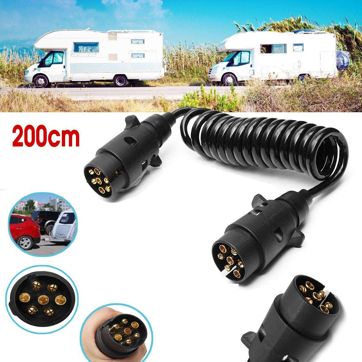WOVELOT 2M 7 Pin Car Towing Trailer Light Board Extension Cable Lead Truck Plug Socket Wire Part Couplings Circuit Plug Socket