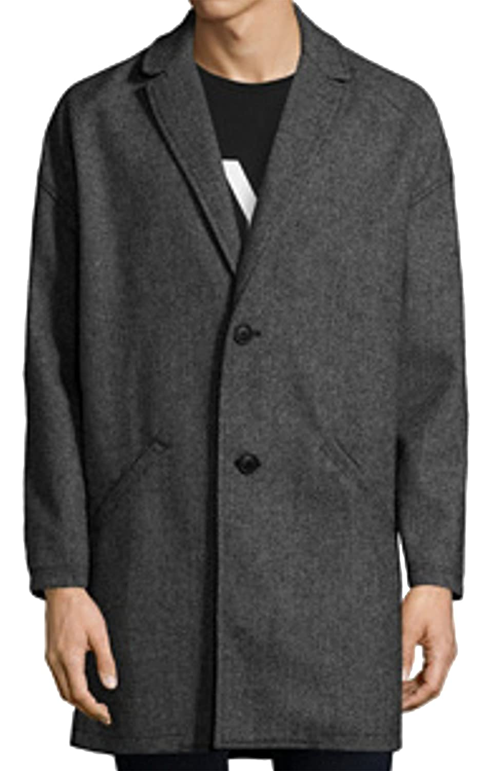 Bershka Menswear Wool-Blend Classic Cut Men's Coat Black Light Grey Herringbone Tailored Collar Winter Coat Medium Length 6433-848-802