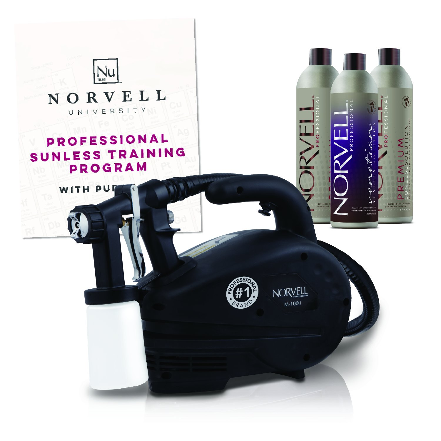 Norvell Sunless Kit - M1000 Mobile HVLP Spray Tan Airbrush Machine + 8 oz Tanning Solutions in Clear Plus, Venetian and Dark + Norvell Training Program (Retail Value $490) by Norvell (Image #1)