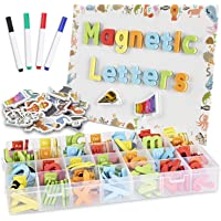 CHUCHIK ABC Magnetic Letters Set for Kids and Toddlers. Alphabet Lowercase and Uppercase Foam Magnets with White Board…