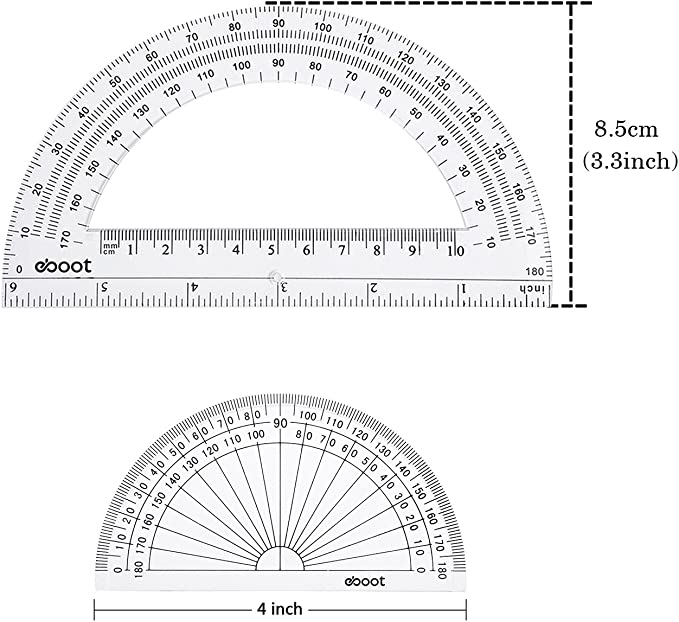 eBoot Goniometro Plastica Goniometro 180 Gradi 4 Pollici e 6 Pollici 2 Pezzi Chiaro