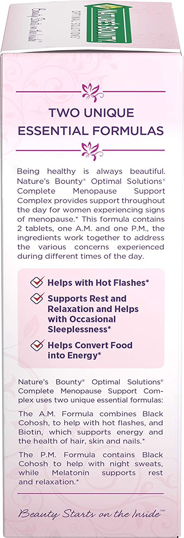 Natures Bounty Optimal Solutions Menopause Support, 60 Tablets: Amazon.es: Salud y cuidado personal