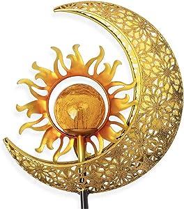 ZYC Sun Moon Solar Lights Garden Outdoor Waterproof Metal Decorative Stakes Crackle Glass Globe Warm White LED for Walkway,Yard,Lawn,Patio