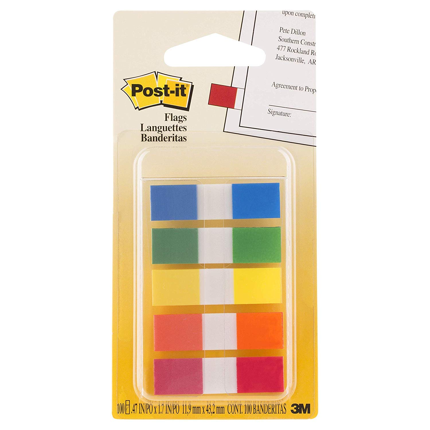 Post-it Flags with On-The-Go Dispenser, Assorted Primary Colors, 1/2-Inch Wide, 100/Dispenser, Pack of 6 by Post-it