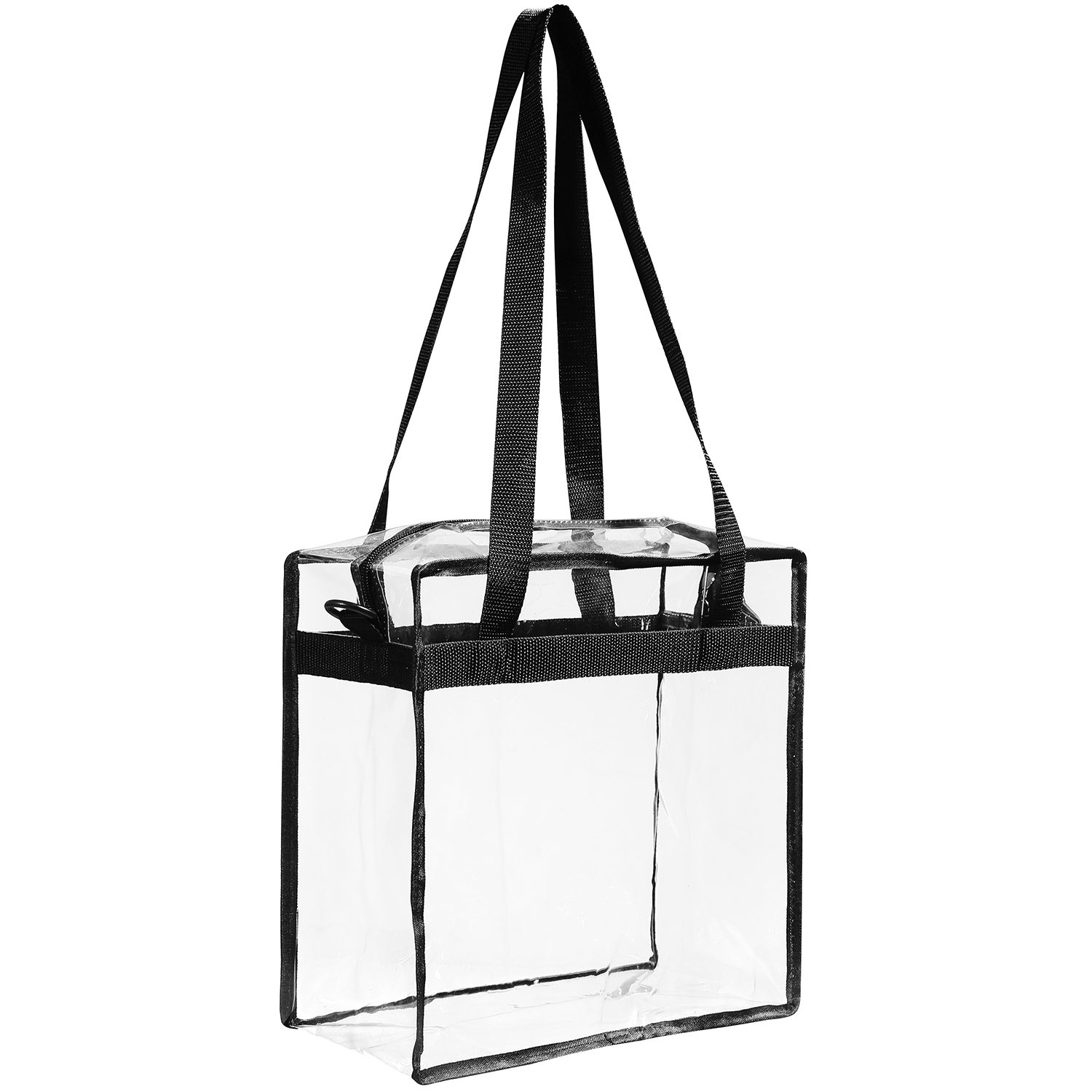 "Clear Bags NFL & PGA Stadium Approved - The Clear Tote Bag with Zipper Closure is Perfect for Work, Sports Games.Cross-Body Messenger Shoulder Bag w Adjustable Strap -12"" X 12"" X 6"" (Two Bag) by BAGAIL (Image #6)"