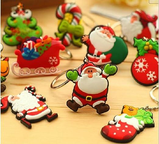 Moda linda Adornos de Navidad Stillshine 15PCS Santa Claus colgante llavero /árbol de navidad llavero bolso hebilla encantos accesorios estilo al azar