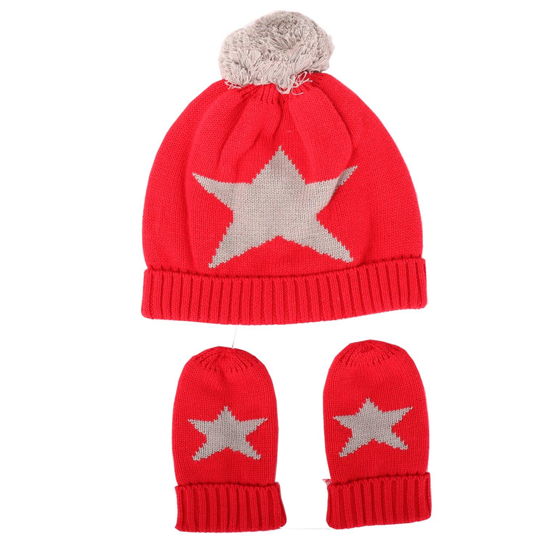 d3115b30e1d ... Tricoté Hiver Chapeau Chaud Rouge Ensemble 3 Pcs pour Enfant Bébé  Agrandir l image
