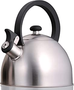 Creative Home Prelude 2.1 Qt. Stainless Steel Whistling Tea Kettle, Brushed Finish