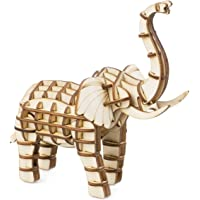 Rolife Build Your Own 3D Wooden Assembly Puzzle Wood Craft Kit Model Gifts for Kids and Adults (Elephant)