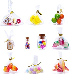 10sets of 1:12 Cute Miniature Dollhouse Food Lollipop Glass Bottle Toast Macaron Bread Donut Kitchen Accessories Decoration Lovely Mini Fruit Mold Simulation DIY Play Toy for Decoration (10 styles)