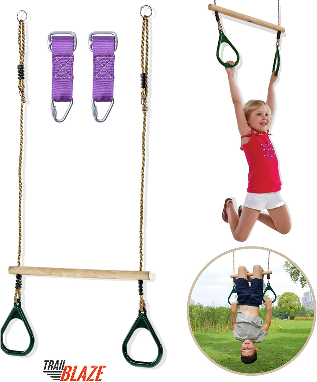 Trailblaze Premium Trapeze Swing Bar - Monkey Bars for Kids Swing Set Accessories Buckle Straps Connect to Ninja Warrior Obstacle Course for Kids | Playground Backyard Jungle Gym Outdoor Rope Swing