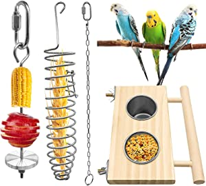 EBaokuup Bird Parrot Feeding Dish Cups with Wooden Platform, 4 Pieces Bird Food Holder Stainless Steel Vegetable Fruit Feeder for Small Animals Parakeet Cockatiels Lovebirds Budgie