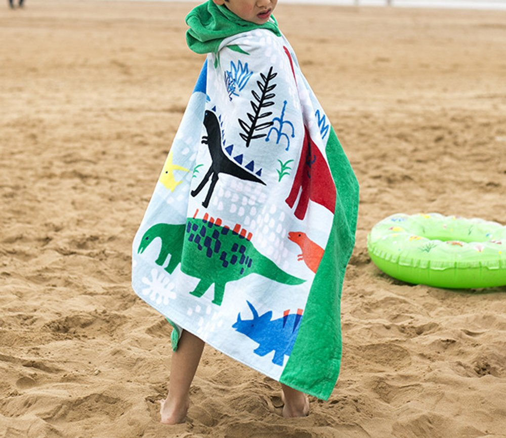 Crocodile Comfysail Kids Hooded Beach Bath Towel 100/% Cotton Super Soft Childrens Poncho Swimming Girls Boys