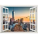 "Wall26 Removable Wall Sticker / Wall Mural - Lower Manhattan Skyline at Sunset | Creative Window View Home Decor / Wall Decor - 36""x48"""