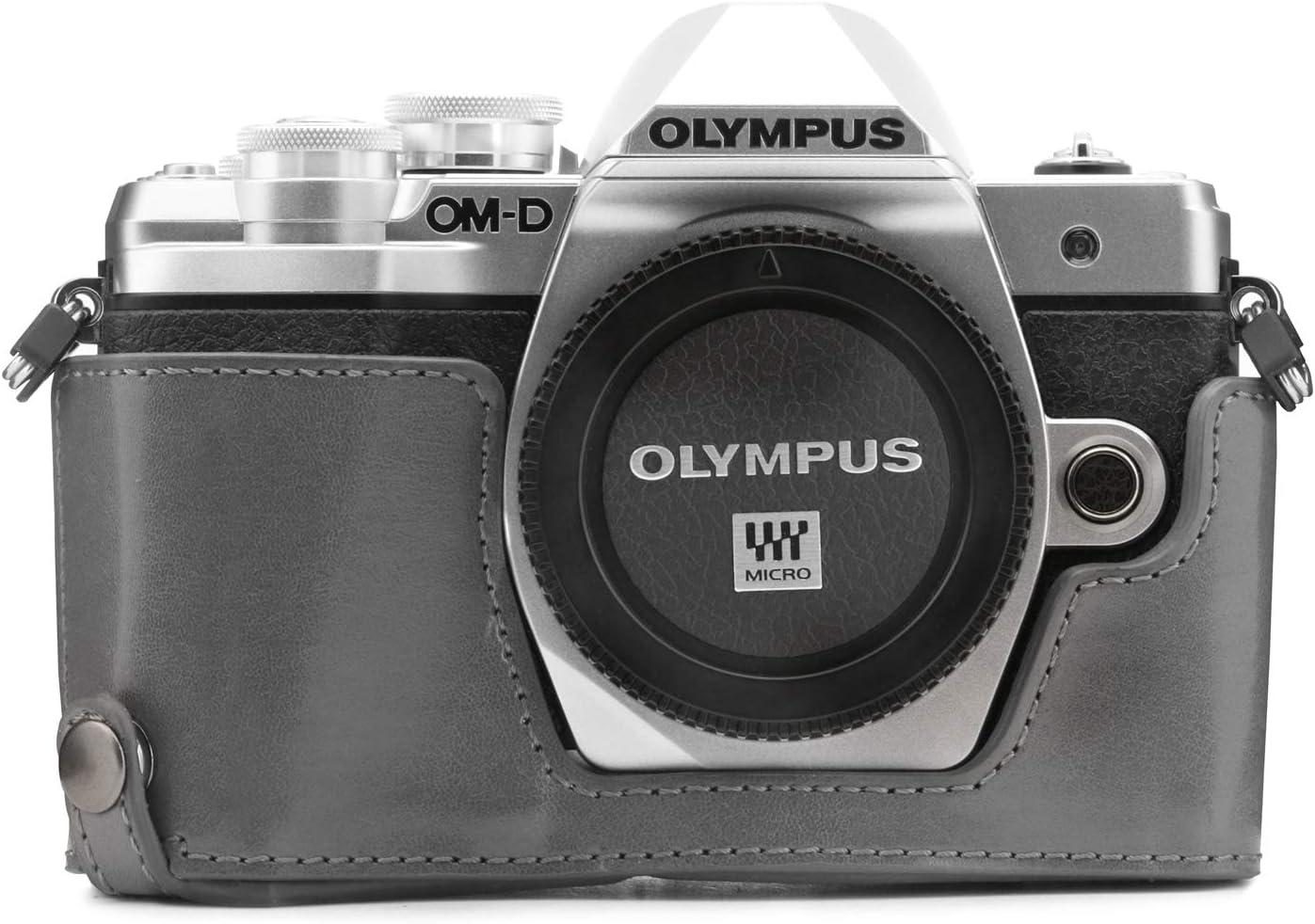 MegaGear Ever Ready Leder Kamera Halbtasche mit Trageriemen kompatibel mit Olympus OM-D E-M10 Mark III
