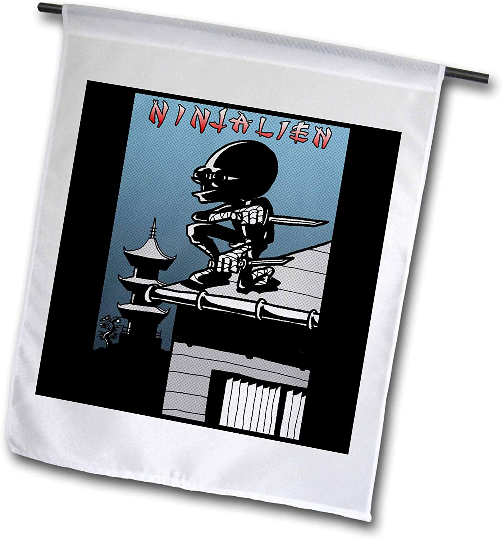 3dRose Travis ECK - Art - Ninjalien - Alien Ninja on The Prowl - 12 x 18 inch Garden Flag (fl_317506_1)