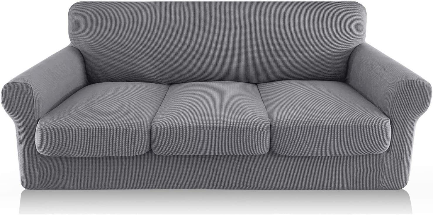 FAHUA 4 Piece High Stretch Couch Covers for 3 Cushion Couch Soft Sofa Cover with Separate Cushion Cover Form Fit Sofa Slipcover Furniture Protector Machine Washable (Large, Light Gray)