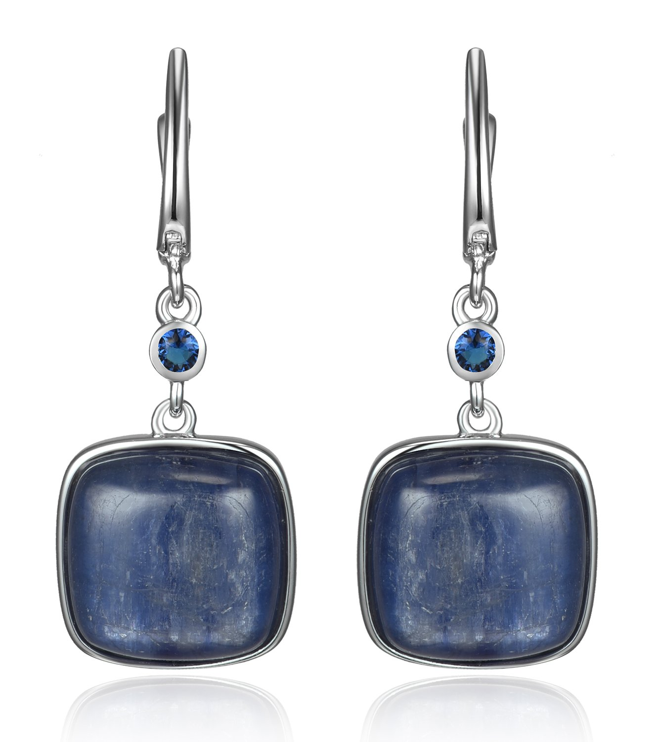 Lanfeny Rhodium Plated 925 Sterling Silver Dangle Antique Earrings with Kaynite Gemstones and Sapphire CZ