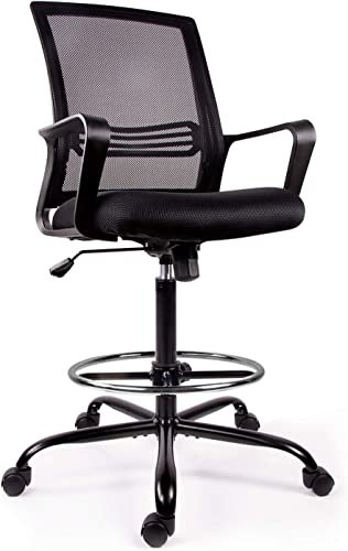 Drafting Chair Tall Office Chair for Standing Desk Drafting Mesh Table Chair with Foot Ring Dark Black