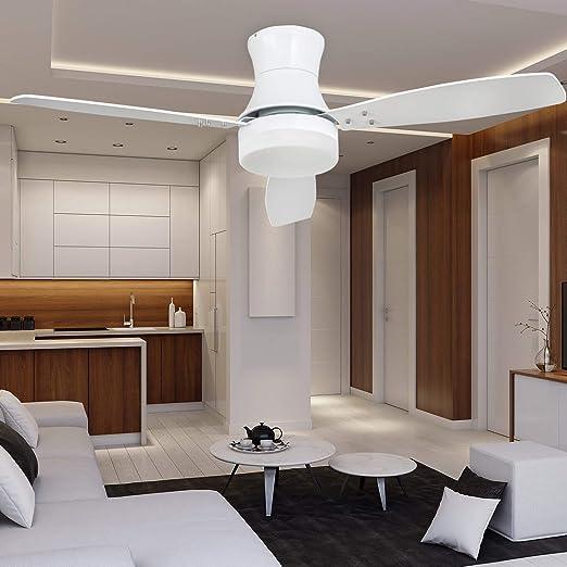 Ventilador de techo de montaje empotrado blanco con luz LED y ...