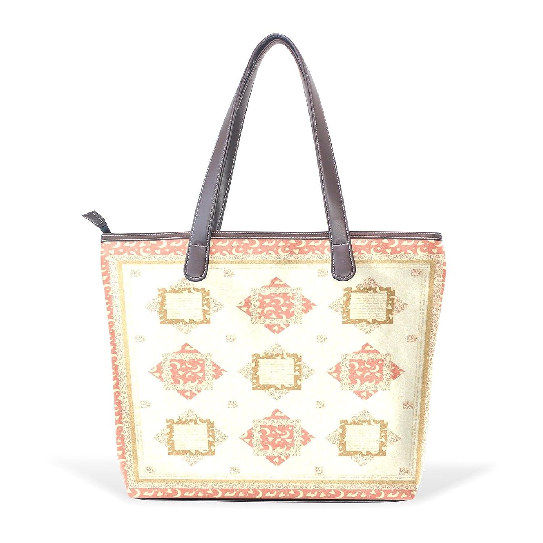 WDYSECRET Block Diagram Women's Pu Leather Handbag Shoulder Bag Zipper Shopping Bag