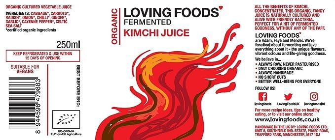 Loving Foods Orgánico Jugo Clásico de Kimchi (250ml) CRUDO ...