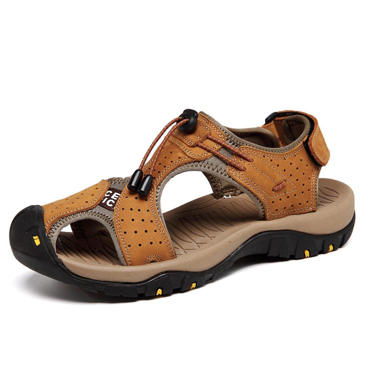 LYZGF Hombres Jóvenes Verano Casual Moda Playa Sandalias Velcro,Brown-38 38|Brown