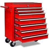 vidaXL Chariot à outils de l'atelier rouge avec 7 tiroirs