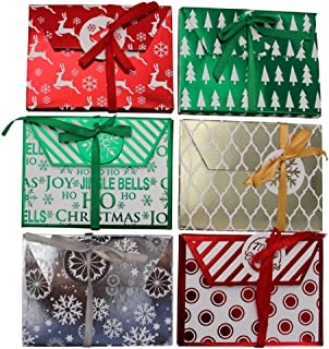 Christmas Kraft Foil Gift Card Holders- Assorted Holiday Designs -(12 Count )