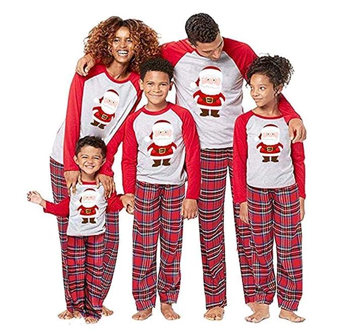 9d77366c0723 Homebaby Famiglia Pigiama Natale Donna Uomo Neonato Bambino Bambini Manica  Lunga Tops + Pantaloni Set Pigiami