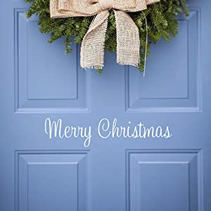 Christmas Wall Decal Vinyl Merry Christmas Front Door Decal Christmas Decorations, Matt White (Merry Christmas)