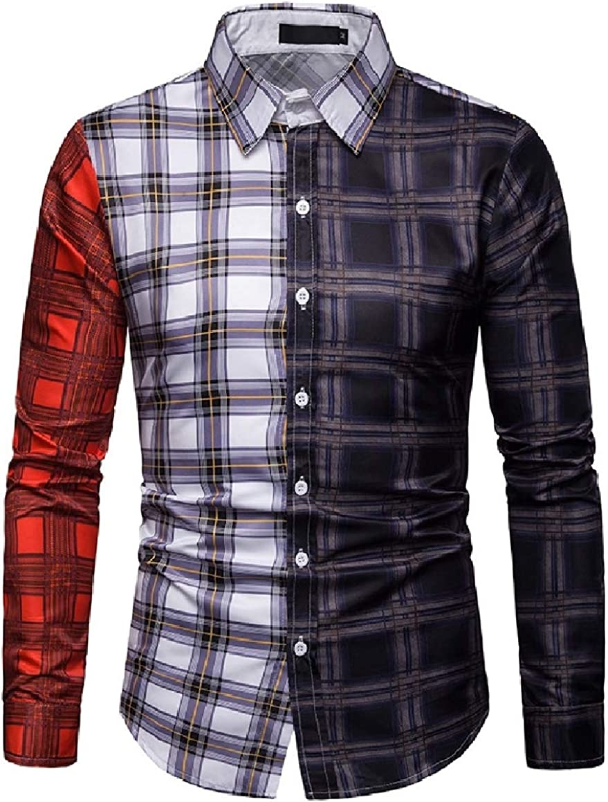 Abetteric Mens Bussiness Long Sleeve Plaid Assorted Colors Silm Fit Shirt