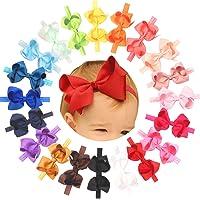 "Baby Girls Headbands Grosgrain Ribbon 4.5"" Hair Bows Headband Big Bow Hair Bands for Toddler Pack of 20"
