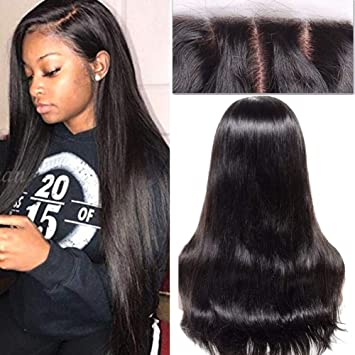 Peruvian Remy Hair Natural Straight Wigs With Baby Hair Pre Plucked Lace Front Human Hair Wigs