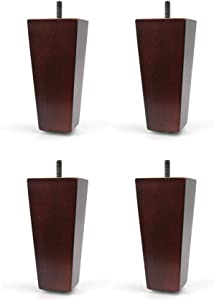 "5"" Furniture Wood Tapered Leg Walnut Finish - Set of 4 Legs"