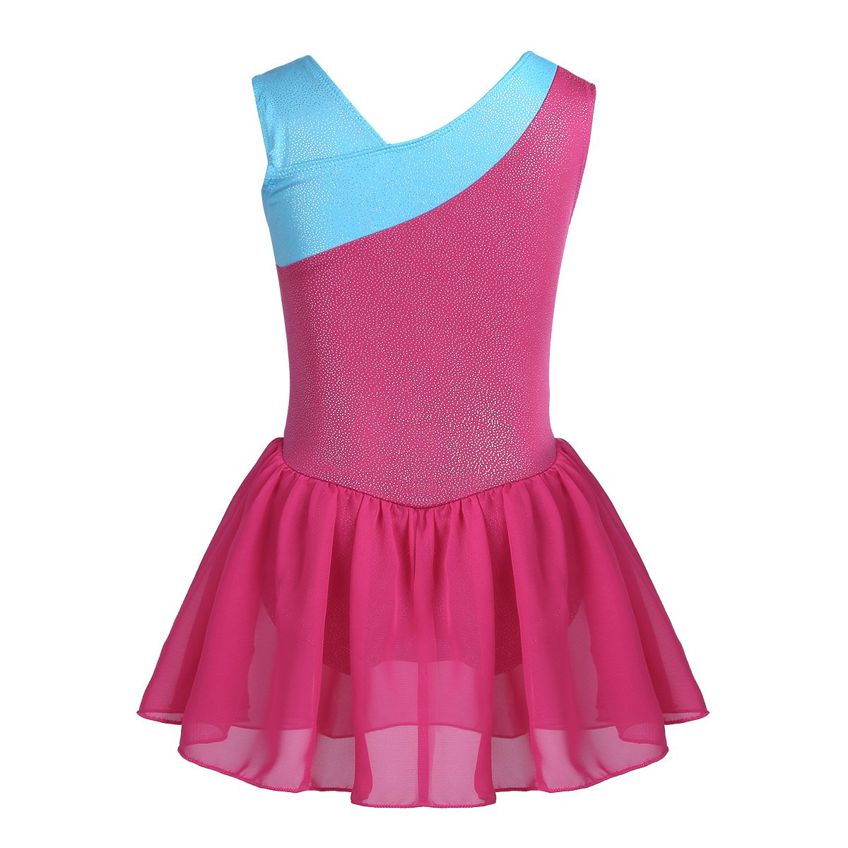 Amazon.com: TiaoBug Girls Splice Ribbon Wrap Skirted Leotard ...