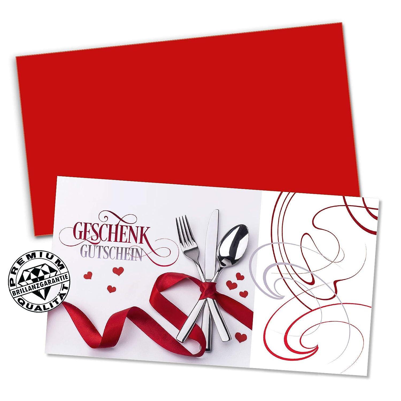 Gutscheine f/ür Restaurant Gasthaus Gastro Gasthof Hotel 100 hochwertige Gutscheinkarten Geschenkgutscheine G1250 Vorderseite hochgl/änzend