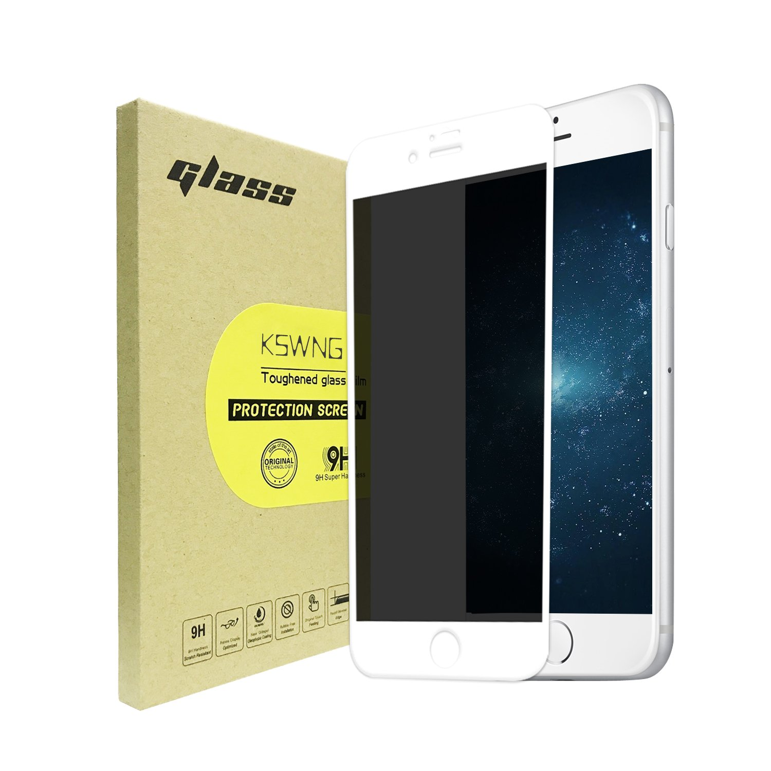 For iPhone 8 Plus/7 Plus Privacy Screen Protector, KSWNG Screen Protector Anti-Spy Tempered Glass Screen [DoubleDefence Technology] 9H Premium Anti-Scratch/Fingerprint(white)