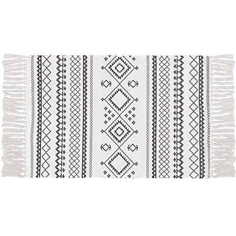 Ukeler Cotton Printed Boho Kitchen Rugs Decorative Black and White Bohemian  Kilim Rug Hand Woven Accent Floor Mat for Bathroom Bedroom, 23.6\