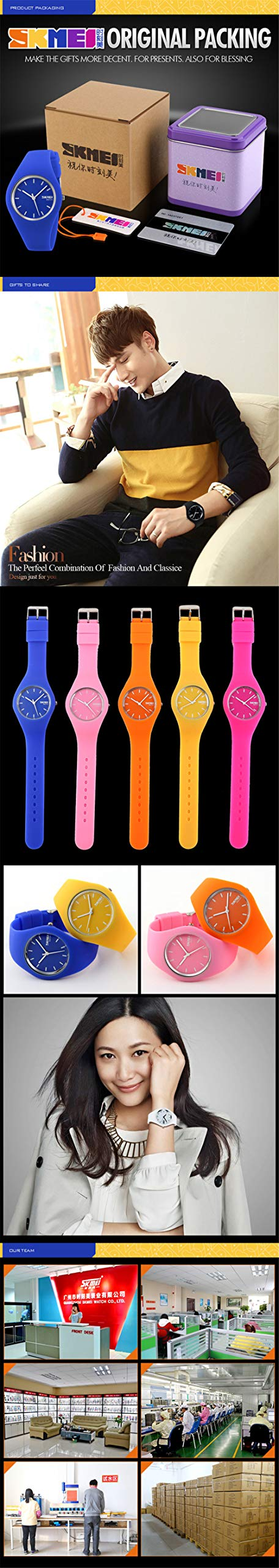 Skmei Fashion Trends Korean Version of The Silica Gel Quartz Ultra-Thin fine Gift Watches(12 Styles) (Rose red) by SKMEI (Image #6)