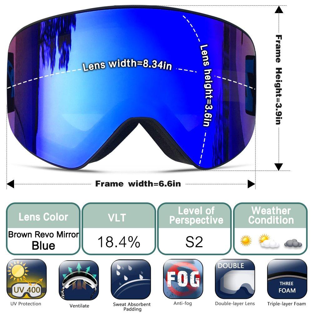 ZIONOR Lagopus X9 Gafas de esquí con Lente Cilíndrica Anti niebla Protección UV400 Casco Compatible Fix-point Anti deslizante Correa Tecnología: Amazon.es: ...