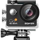 SOFER(ソフェル) アクションカメラ タッチパネル搭載 タッチして簡単操作 4K高画質 30M防水 Wi-Fi機能搭載 2インチ液晶画面 170度広角レンズ HDMI出力可能 多言語対応 ハルメットやハンドルバーやロールバーに取付可能 防水ケース&装着アクセサリー付き スポーツカメラ 防犯カメラ ドライブレコーダーとしても使用可能 小型 軽量 GOTouch アクションカメラ タッチ ブラック