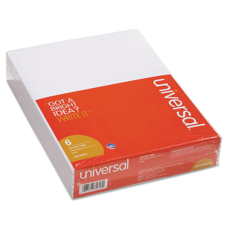 Universal 35618 8-1/2 x 11 White Unruled Scratch Pads (100-sheet pads)