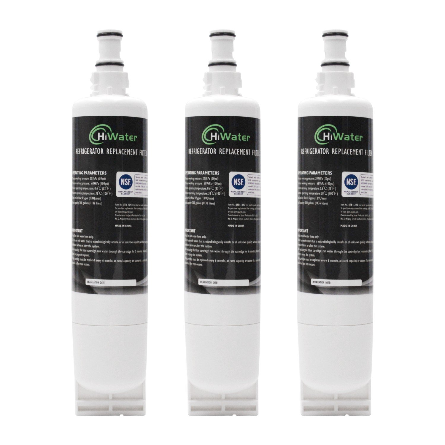 4396508 Refrigerator Water Filter for Whirlpool 4396508, 4396510, NLC240V, W10186668, Kenmore 46-9010 EveryDrop Filter 5, EDR5RXD1 (3Pack)