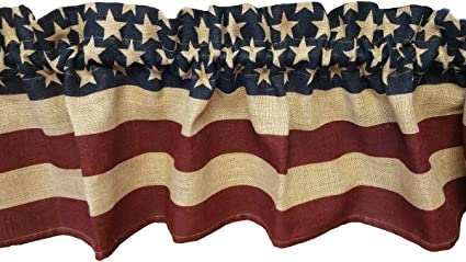 Country valance Red American flag valance White and Blue country curtains patriotic home decor patriotic valance Americana Valance
